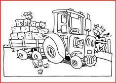 traktor mit anhänger ausmalbild | ausmalbilder traktor