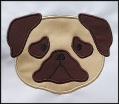INSTANT DOWNLOAD Pug dog face applique by DBembroideryDesigns, $3.99