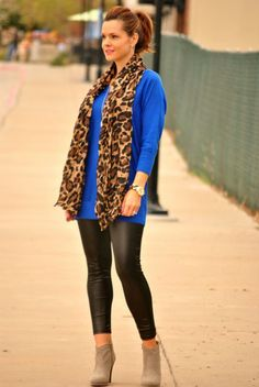 Cobalt blue, leather leggings, leopard scarf and ankle boots.