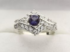 Natural Blue Iolite  Solid 14K White Gold by EESilverStudio