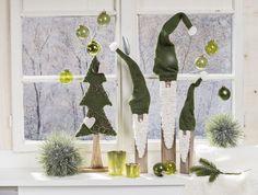 Mon Decor Stimmungsbild Weihnachten. Wichtel. Zwerge. Grün. Fensterbank. Green. Christmas.: