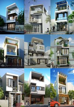The narrow house on Behance House Front Design, Modern House Design, Modern Exterior, Exterior Design, House Elevation, Front Elevation, Modern Townhouse, Narrow House, Duplex House