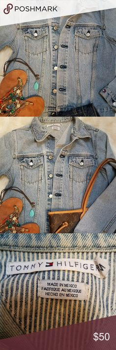  Tommy Hilfiger Jean Jacket  MEDIUM Perfect denim jacket goes from day to night. Toss it over everything from tees to dresses! Nice light colored denim for spring / summer. Size Medium. Non smoking. See pics for styling ideas! Tommy Hilfiger Jackets & Coats Jean Jackets