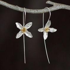 925 Sterling Silver Jewelry Freeshipping Girls Handmade Silver Flower Earring