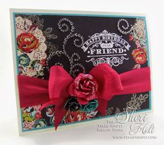 CAS Chalkboard birthday card using Prima Rosarian x paper and JustRite Birthday Wishes For You cling stamps by Sheri Holt Happy Birthday Dear Friend, Birthday Wishes, Birthday Cards, Tuesday Inspiration, Inspiration Cards, Ribbon Store, Birthday Chalkboard, Cards For Friends, Cute Cards