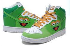 Original Cartoon Oscar The Grouch Nike Shoes Sesame Street high ...