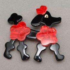Bakelite Poodle Pin Lea Stein Paris Animal Brooch