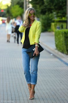 H&m Yellow Women's Tailored Crop Blazer