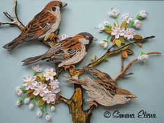 Quilled Trio of Birds - art by Simona Elena, via Flickr      https://www.facebook.com/photo.php?fbid=735150609833973&set=a.348707781811593.114743.100000171237316&type=3&theater