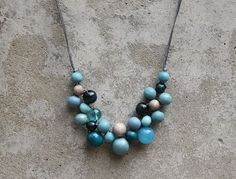 Wooden bead necklace, greyed jade, teal blue, aqua, bib necklace, boho bib necklace, contemporary necklace.
