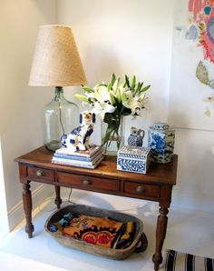 lamp, table, wood bowl, blue & white, Staffordshire dog...love it all!