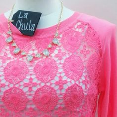 Adorable Pink crochet top Adorable Pink top Crochet detail  Long sleeve but very light weight material Tops Tees - Long Sleeve