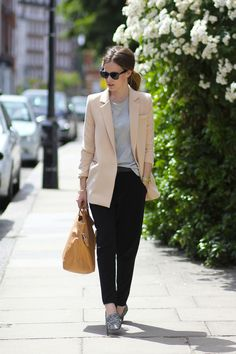 Nice Casual Hijab Outfit (Olive blazer, COS tee and bag, Zara trousers and shoes, Michael Kors watch and ...
