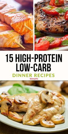 Effortlessly slim down with these high-protein, low-carb dinner recipes. These meals are packed with filling meats, veggies, and healthy fats, making them great options for anyone on a low-carb diet. Healthy High Protein Meals, Healthy Food Recipes, High Protein Low Carb, Low Carb Dinner Recipes, Healthy Eating, Dinner Healthy, High Protein Dinner, High Carb Meals, High Protein Chicken Recipes