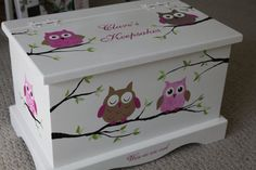 Baby Keepsake box chest baby memory box personalized Pink Owls baby gift hand painted - Oliver Baby Name - Ideas of Oliver Baby Name - Keepsake box chest baby memory box personalized by staciedale Baby Keepsake, Keepsake Boxes, Baby Crafts, Diy And Crafts, Painted Boxes, Hand Painted, Unique Baby Shower Gifts, Decoupage Box, Baby Box