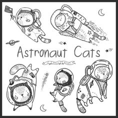 Hand Drawn Cute Astronaut Cat Clipart by LePetiteMarket  ~ Available for Instant Download in PNG JPG and Vector EPS