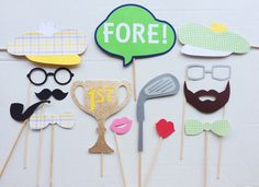 Golf Themed Photo Booth Props; Golf Birthday Party; Photobooth Props; Golf Party; Golf Decor; Golfer Photo Prop by LetsGetDecorative on Etsy https://www.etsy.com/listing/222734548/golf-themed-photo-booth-props-golf
