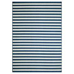 Indoor/Outdoor Navy Striped Rug (7'10 x 10'10)