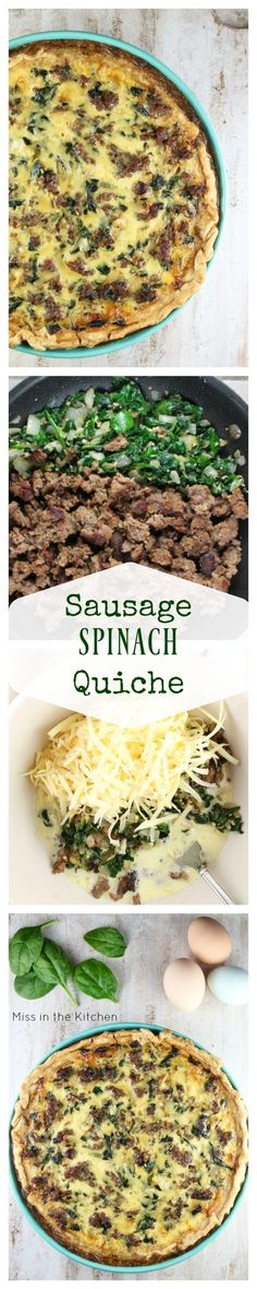 Recipe for Sausage Spinach Quiche from MissintheKitchen.com
