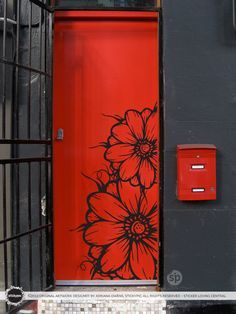 Floral Grower Decal (Vinyl Wall Sticker Decal Door Art Nature Flower Floral Rose Petal)