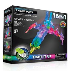 Laser Pegs 16-in-1 Space Fighter Lighted Construction Toy