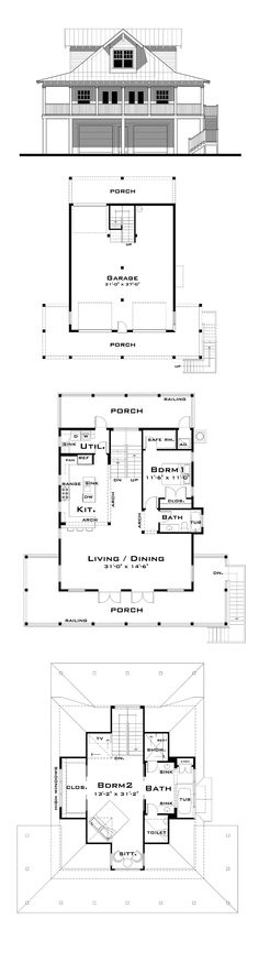 Florida Cracker Style COOL House Plan ID: chp-53733   Total Living Area: 2049 sq. ft., 2 bedrooms and 2 bathrooms. #floridacracker