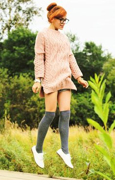 Love this oversized sweater/ knee high sock comboknee high socks with oxfords! ❤