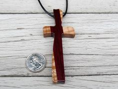 Large Wooden Cross Necklace  Sycamore & Purpleheart by TheLotusShop, $24.95