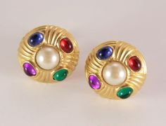 Clip On Earrings Gripoix Large Round Gold Button Earrings Amethyst Pearls Emerald Sapphire Ruby Gemstone Imitation Jewelry by VintageForAges on Etsy