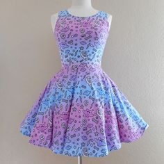 Milky pastel bat night skater dress made to order