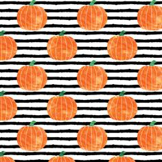 Pumpkin Stripes Fabric - Watercolor Pumpkins On Stripes By Littlearrowdesign - Fall Pumpkin Cotton Fabric By The Metre With Spoonflower