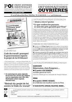 Le journal de BORIS VICTOR : PARTI OUVRIER INDEPENDANT  - Le tract hebdo de pré...