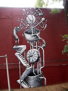 These top three (large) murals on West 17th is by UK street artist Phlegm, who was visiting NYC this month.
