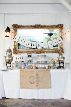 Creative and Fun Wedding Bar Ideas for your Reception! - Wedding Party (Brunch Wedding)-- use mirrors everywhere- Goodwill will have a ton. Coffee Bar Wedding, Wedding Food Bars, Dessert Bar Wedding, Brunch Wedding, Wedding Desserts, Coffee Bar Party, Brunch Party, Wedding Catering, Drink Station Wedding