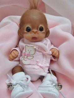 OOAK Baby Orangutan Monkey Girl Sculpted Polymer Clay Art Doll Poseable