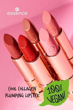"""The """"Cool COLLAGEN plumping lipstick"""" by essence in 5 wounderful shades is enriched with hyaluronic acid. Thanks to its smooth texture, it feels nourishing and super soft on the lips. At the same time, a light tingling effect provides a pleasant boost of freshness. Plumping Lipstick, Liquid Lipstick, Hyaluronic Acid, Lip Balm, Lip Gloss, Feels, Smooth, Shades, Texture"""