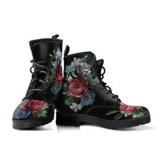 90s Boots, Goth Boots, Women's Boots, Custom Shoes, Custom Design Shoes, Leather Lace Up Boots, Vintage Flowers, Vegan Leather, Hippie Boots