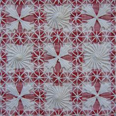 """tenerife! I learned to do """"tenerife"""" as a teenager from a country neighbor. I knew only that one pattern for many years that I did on gingham checked fabric. In recent years, I have seen more and more patterns including this lovely one. Though it looks complicated, it is actually quite simple and needs only simple supplies."""