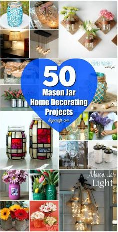 50 Brilliantly Decorative Mason Jar Home Decorating Projects - Easy and frugal projects! These mason jar ideas are great for recycling old mason jars and for adding beautiful home decor! Try making these beautiful diy mason jar projects today! Mason Jar Projects, Mason Jar Crafts, Mason Jar Diy, Diy Home Decor Rustic, Diy Home Decor Projects, Craft Projects, Simple Projects, Sewing Projects, American Crafts