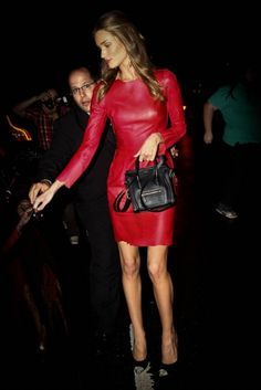 red leather & a mini celine purse.