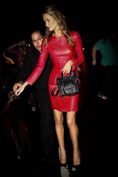 red leather & a mini celine purse.