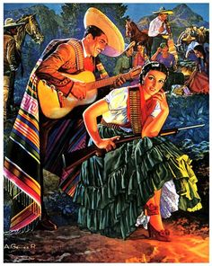 Mexican Calendar Girls the golden age of calendar art: by Angela Villalba, Wish the gal was not sporting bullets and a gun. colors are warm and wonderful Mexican Artwork, Mexican Paintings, Mexican Folk Art, Mexican Style, Jesus Helguera, Arte Latina, Jorge Gonzalez, Hispanic Art, Latino Art