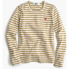 J.Crew Comme Des Garcons Striped Heart T-Shirt ($170) ❤ liked on Polyvore featuring tops, t-shirts, stripe t shirt, heart tee, striped t shirt, graphic design t shirts and striped tee