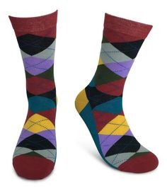 Fun Selection of Socks in Bold, Bright, Colorful Patterns. ***** RATED, Make your sole happy with these amazing socks. Groomsmen Socks, Argyle Socks, Dress Socks, Color Patterns, Fashion Dresses, Burgundy, Pairs, Make It Yourself, Gifts