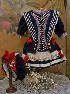~~~ Pretty French Bebe Sailor Costume with Bonnet ~~~