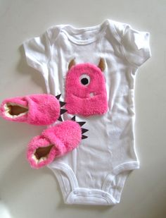 Pink Furry Monster Baby Gift Set