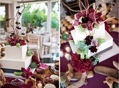 Love this burgundy orchid, succulent, chocolate cosmos Wedding cake  /   Sweet Cheeks Baking Company