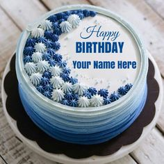 Happy Birthday Classic Buttercream Flower Cake With NameCreate Name OnlinePersonalized On Delicious CakeMultipurpose For