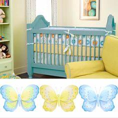 Decorating Tip  Creat a Blue Green Yellow Nursery #baby #girl #nursery #butterfly #butterflies #decorating #crib #blue #green #yellow
