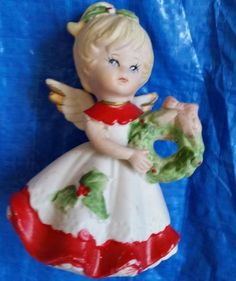 Homco porcelain angel wreath holly dress 5402 replacement red white vintage